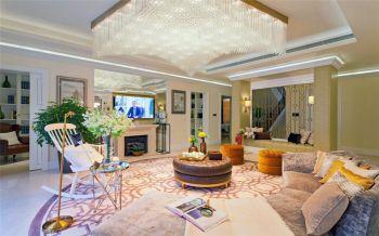 35万新古典混搭风格小米色别墅装修效果图