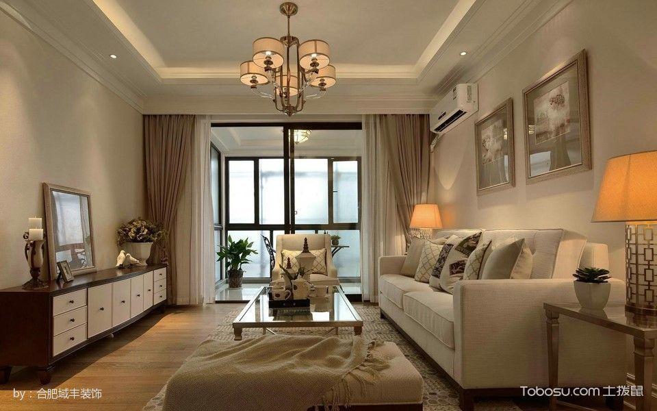 客厅黄色灯具美式风格装修效果图