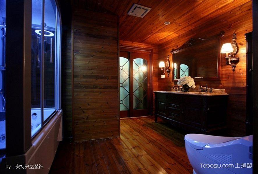 卫生间咖啡色地砖美式风格装修设计图片