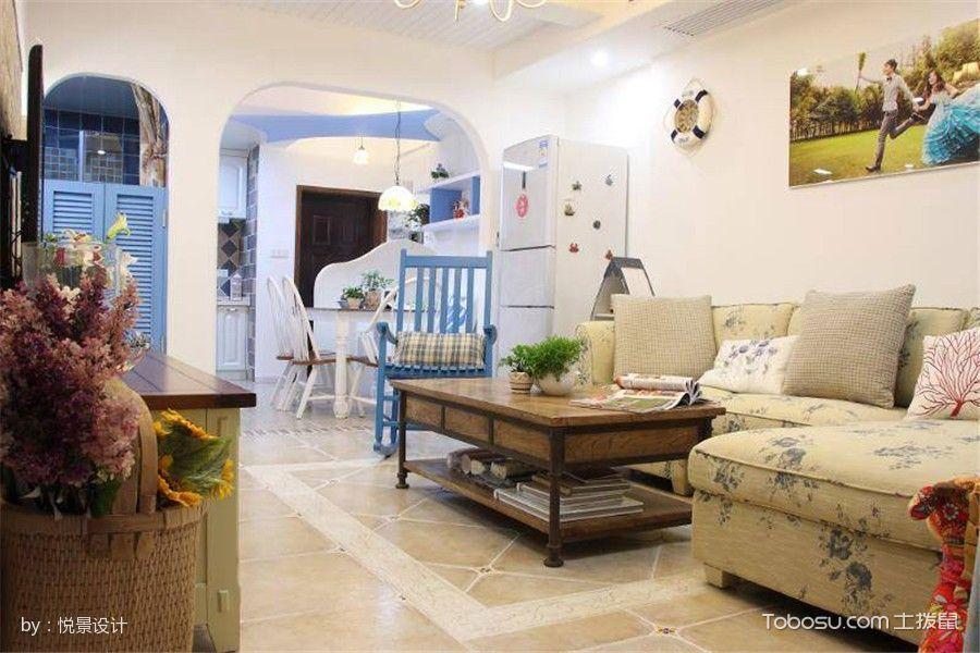 客厅黄色地砖地中海风格装潢效果图