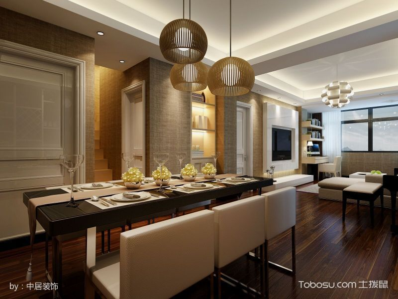 餐厅咖啡色餐桌日式风格装修图片