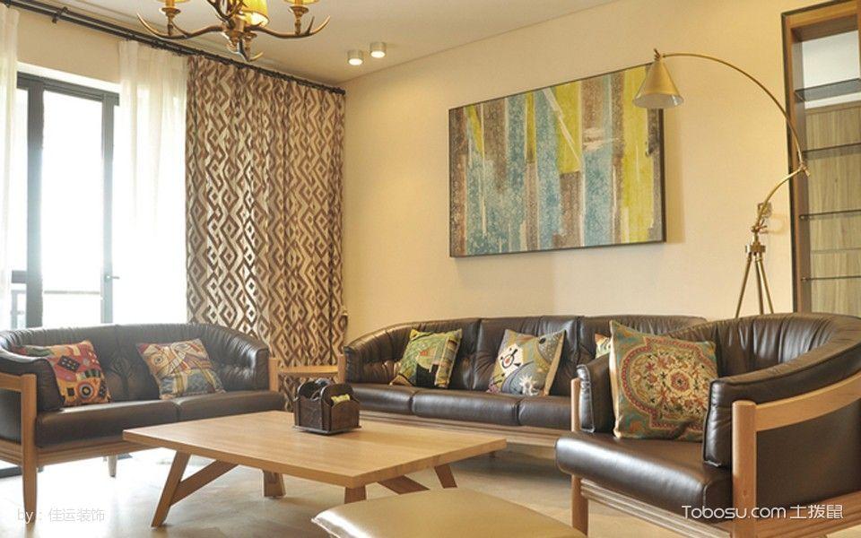 客厅黄色沙发北欧风格效果图