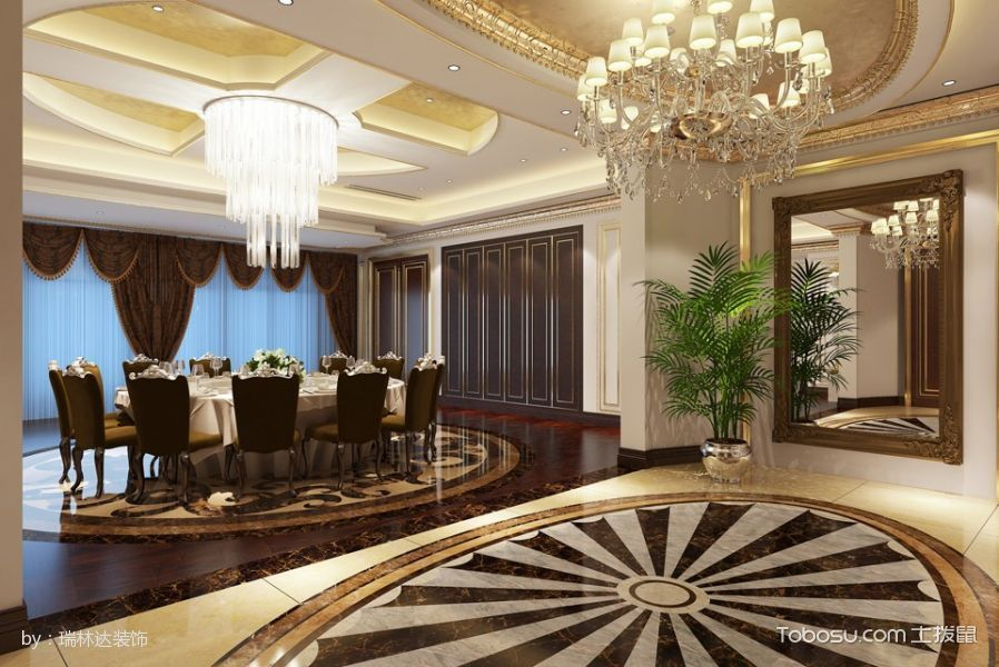 2017金必顺房地产开发会所餐厅地板装修图片