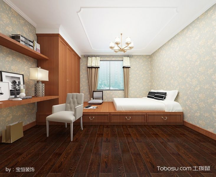 卧室咖啡色榻榻米简欧风格装潢图片