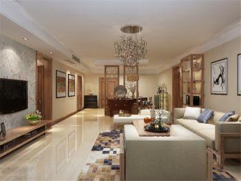 166平新中式风格温馨三房两厅家装效果图
