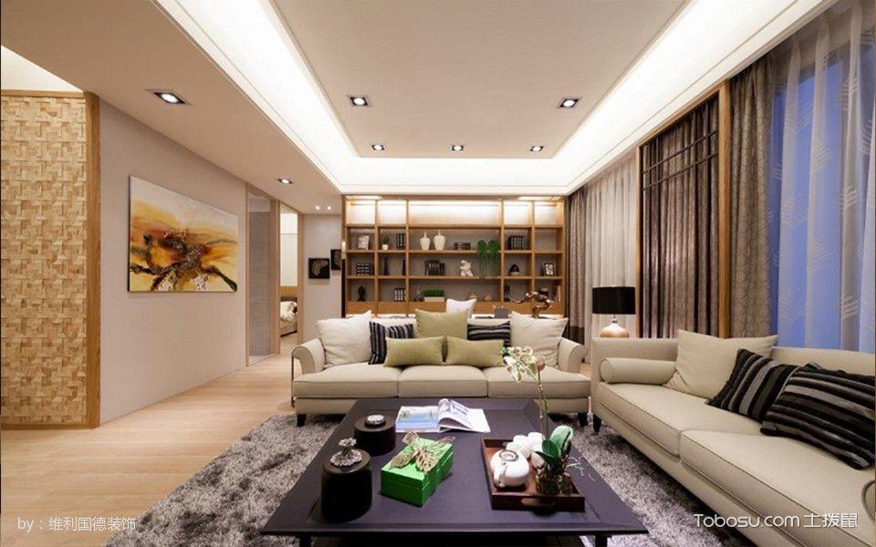 世茂西西湖155平米现代木质户型2房2厅1卫1厨装修效果图