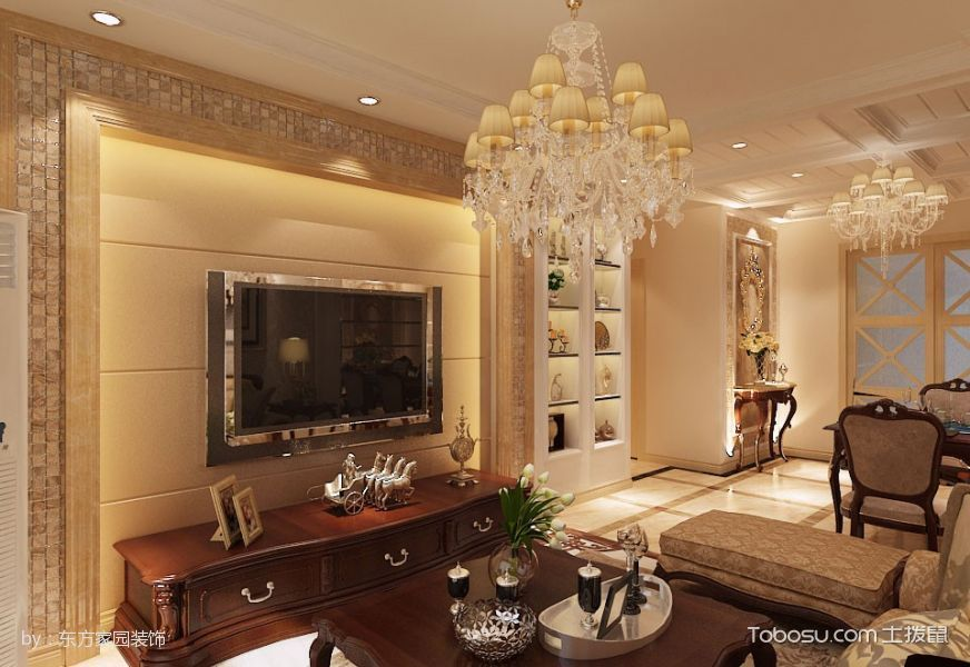 客厅咖啡色电视柜简欧风格效果图