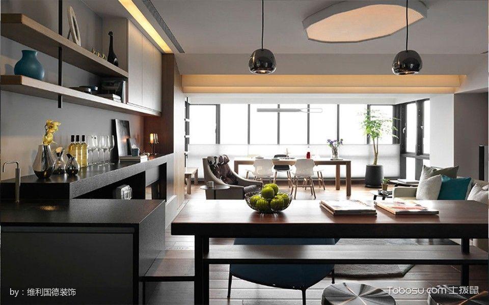 客厅咖啡色博古架混搭风格装饰效果图