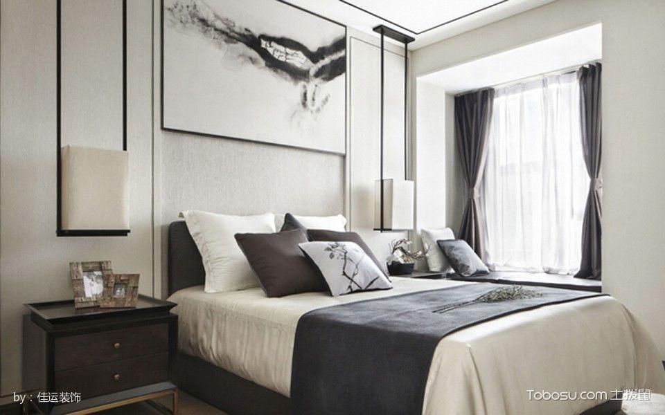 卧室白色床新中式风格装饰设计图片