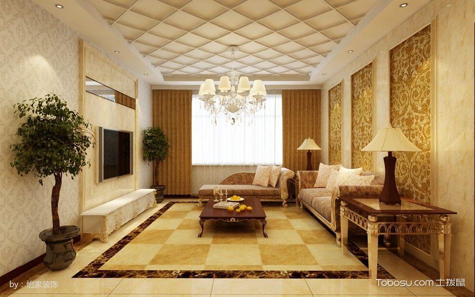 100平简欧风格舒适两房一厅装修效果图图片