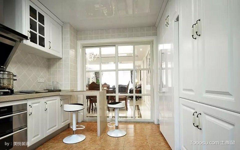厨房白色推拉门美式风格装饰效果图