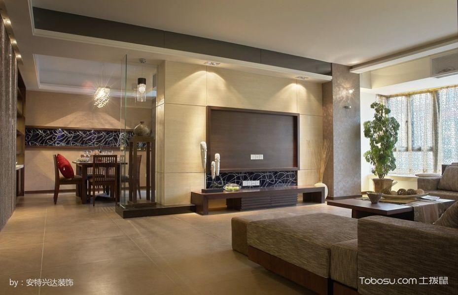 富裕广场120平米现代中式风格三居室装修效果图