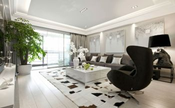 书香景苑120平现代简约室内套房装修效果图