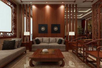 书房咖啡色背景墙中式风格效果图