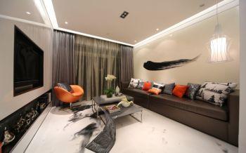 客厅灰色窗帘现代风格装饰图片