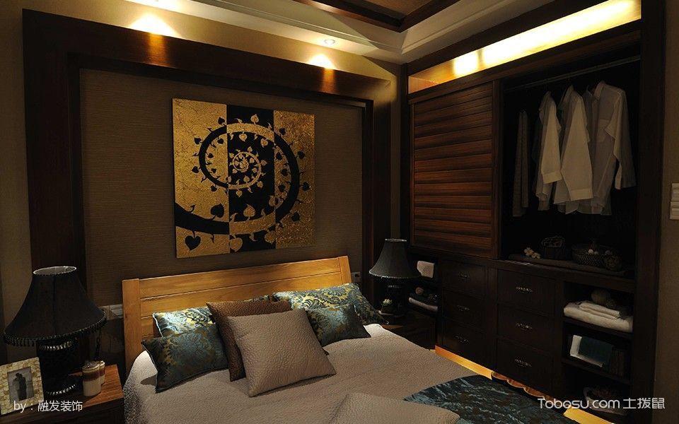 卧室咖啡色衣柜混搭风格装饰效果图
