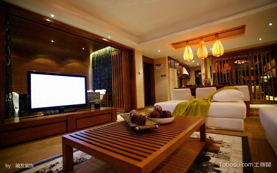 客厅咖啡色茶几混搭风格装潢图片