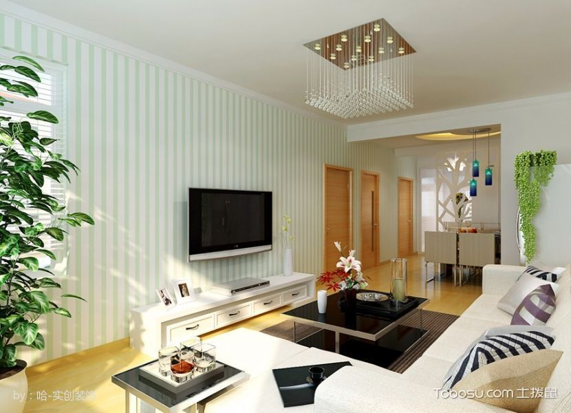 海富锦园90平米两居室现代简约清新风白色装修效果图