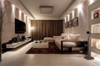 客厅咖啡色窗帘现代简约风格装潢效果图