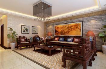 信和家园120平米中式风格大户型黄色装修效果图