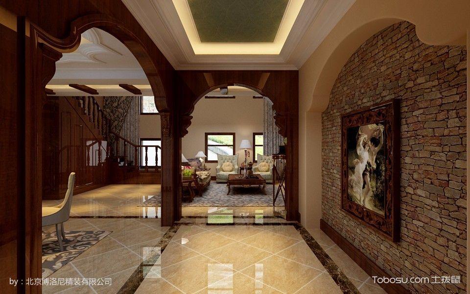 客厅咖啡色门厅美式风格装潢图片