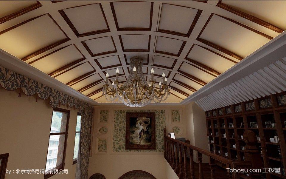 客厅黄色吊顶美式风格装修设计图片