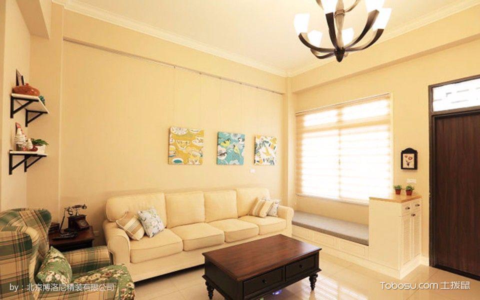 客厅黄色窗帘美式风格装饰设计图片