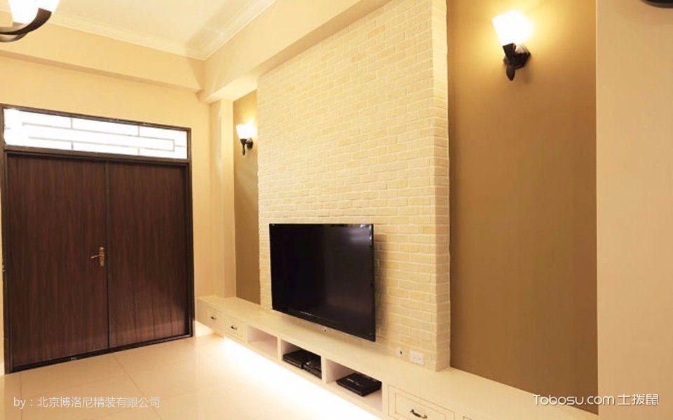 客厅黄色背景墙美式风格装潢设计图片