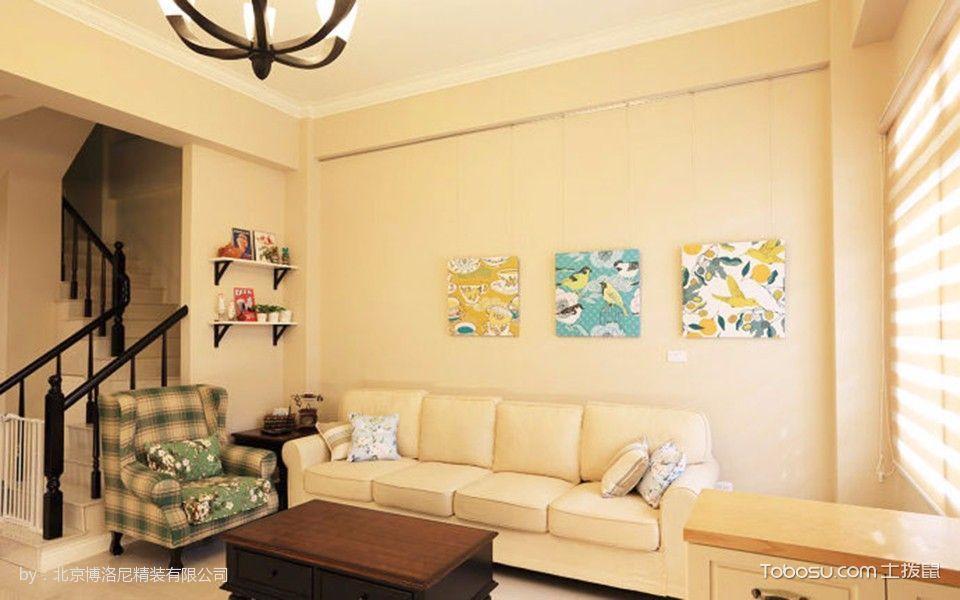 客厅黄色背景墙美式风格装修效果图