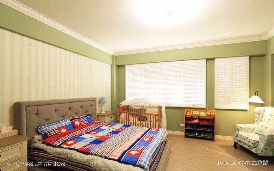 卧室白色窗帘美式风格装潢图片