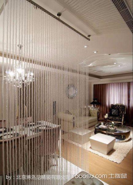 客厅白色隔断新古典风格装修设计图片