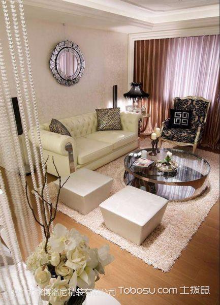 客厅白色沙发新古典风格装饰设计图片