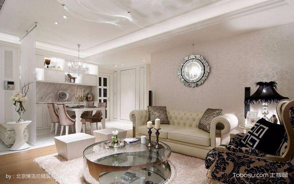 客厅黑色茶几新古典风格装潢设计图片