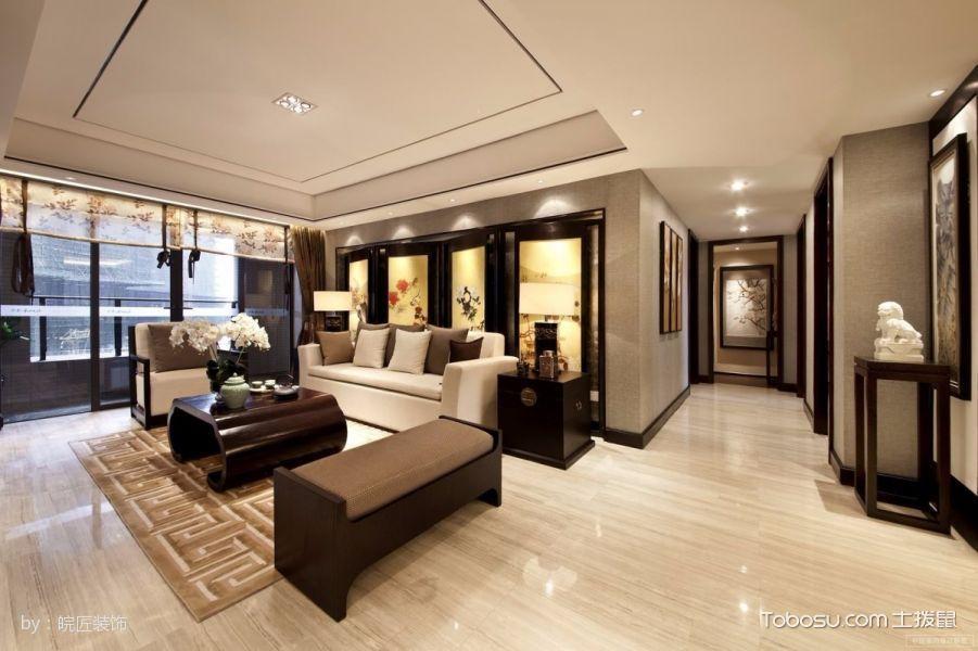 120平米现代中式风格舒适三居室黄色装修效果图