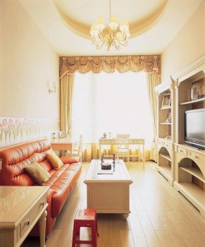 万东花园120平米黄色美式田园风格三居室装修效果图
