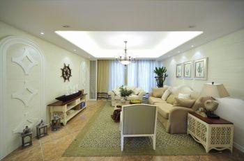 客厅白色吊顶地中海风格装潢设计图片