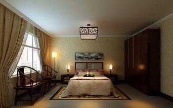 卧室黄色背景墙中式风格装饰效果图