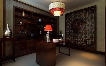 书房咖啡色博古架中式风格装潢效果图