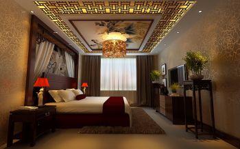 卧室米色吊顶中式风格装修图片