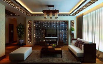 客厅白色沙发中式风格装潢图片