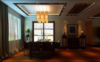 餐厅咖啡色餐桌中式风格装饰设计图片