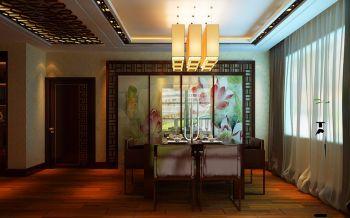 餐厅白色灯具中式风格装潢设计图片