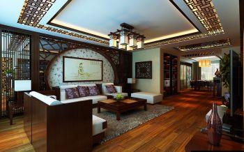 客厅白色背景墙中式风格装饰效果图
