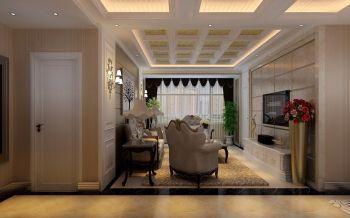 郡望安石120平米现代欧式风格三居室黄色装修效果图