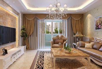 客厅咖啡色窗帘简欧风格装修设计图片