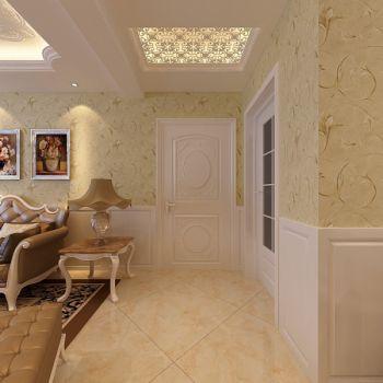 玄关黄色背景墙简欧风格效果图