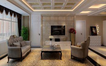 客厅白色背景墙现代欧式风格装饰设计图片