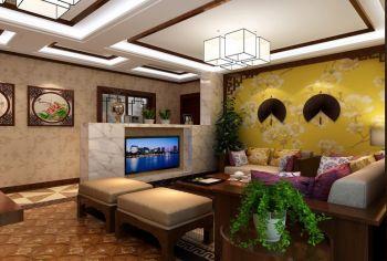 客厅黄色背景墙中式风格装饰图片