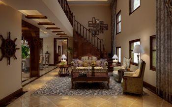 客厅黄色沙发美式风格装饰效果图
