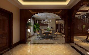餐厅咖啡色门厅美式风格装饰图片